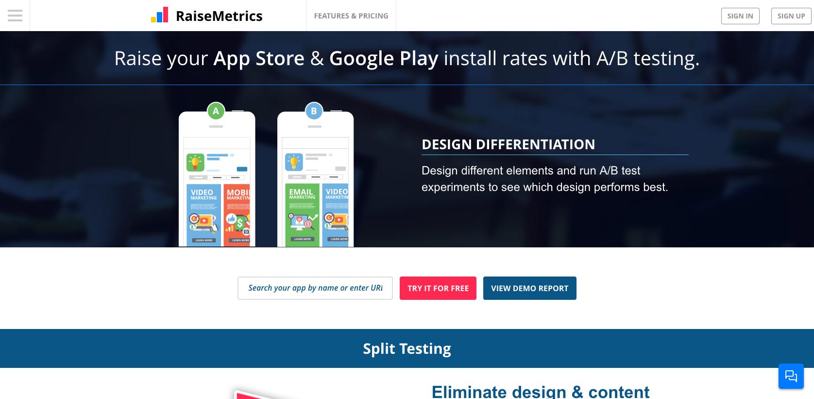RaiseMetrics A/B testing tool